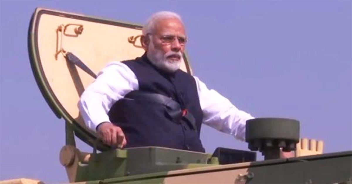 Narendra Modi on tank