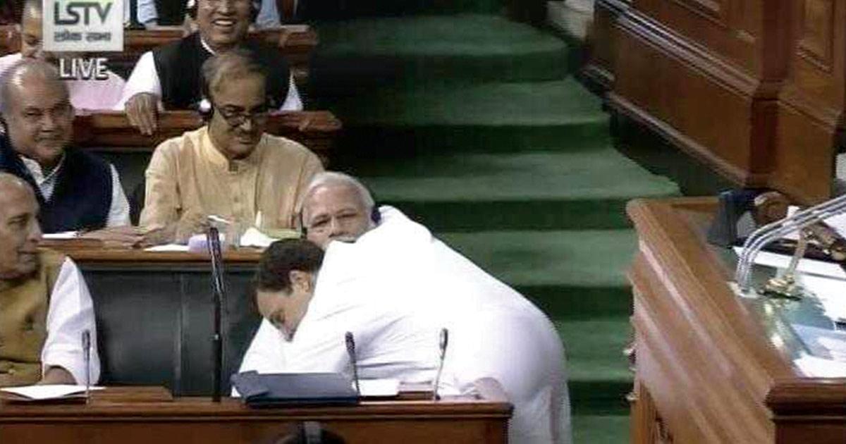 Rahul Gandhi PM Modi hugs